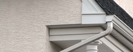 Side view of gutter and downspout